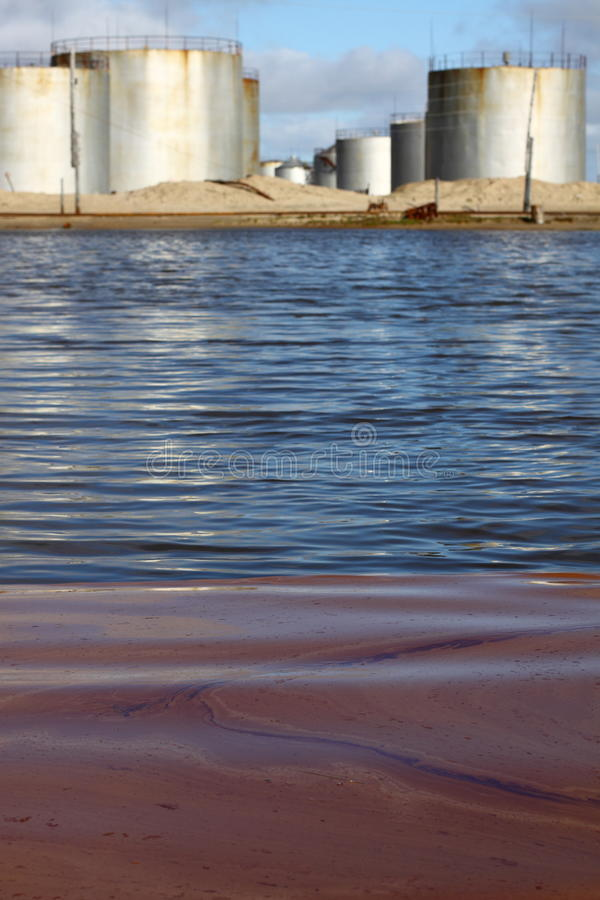 Pollution of water by fuel stock image