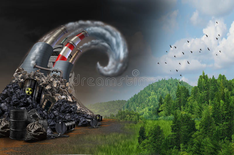 Pollution Wave Concept. And environmental danger symbol as industrial dirty waste and garbage shaped as an ocean storm wave as a metaphor for the risk of toxic royalty free illustration