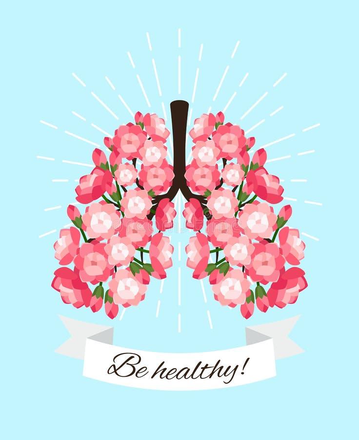 Polmoni di fioritura sani illustrazione vettoriale