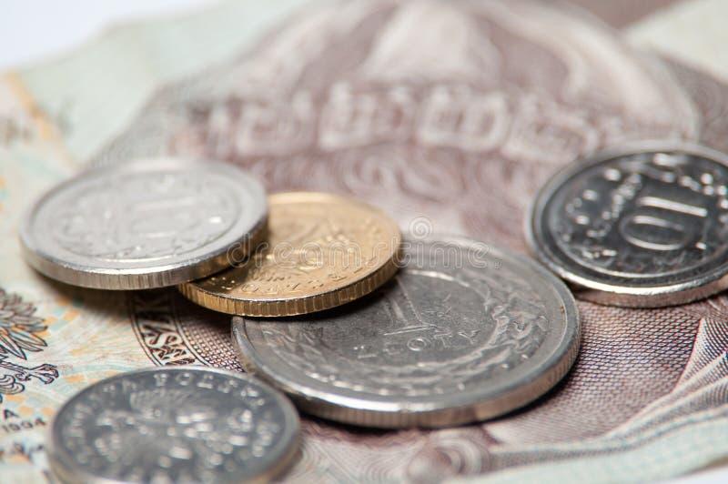 Polnische Münzen und Querneigung getrennt auf weißem Hintergrund stockfotos