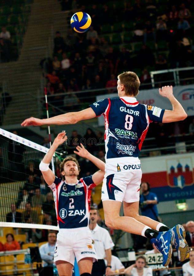 Polnische Pokalspiele des Volleyballs lizenzfreie stockfotografie