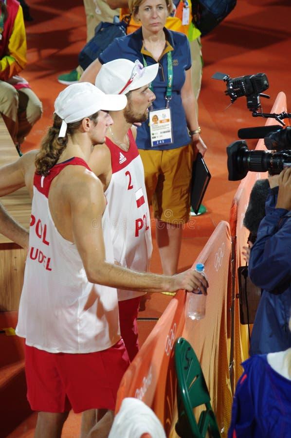 Polnische Strandvolleyballspieler an Rio2016 stockfotos
