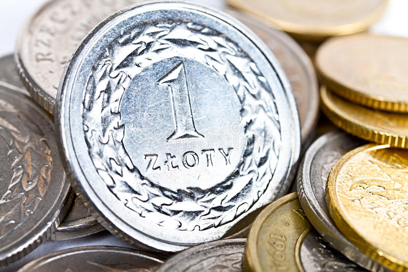 Polnische Zlotymünzen stockfotos