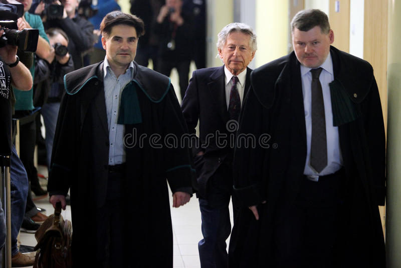 Polnischer Filmregisseur Roman Polanski vor Gericht in Krakau lizenzfreie stockfotografie