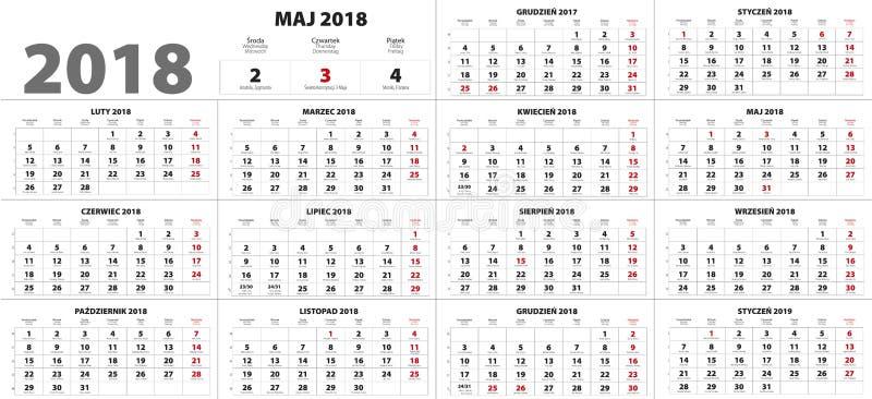 Polnischer Kalender für 2018 lizenzfreies stockbild