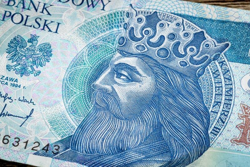 Polnischer mittelalterlicher König auf Banknote stockfotografie