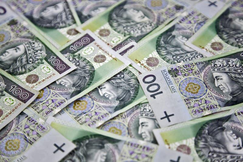 Polnischer Zloty des Geldes 100 stockbilder