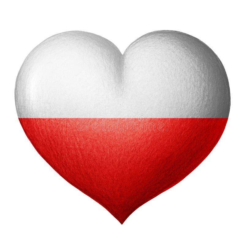 Polnisches Flaggenherz Getrennt auf weißem Hintergrund lizenzfreies stockfoto