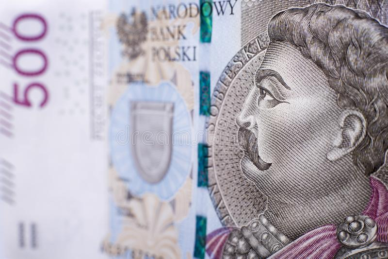 Polnisches Makro der Banknoten-500 lizenzfreie stockbilder