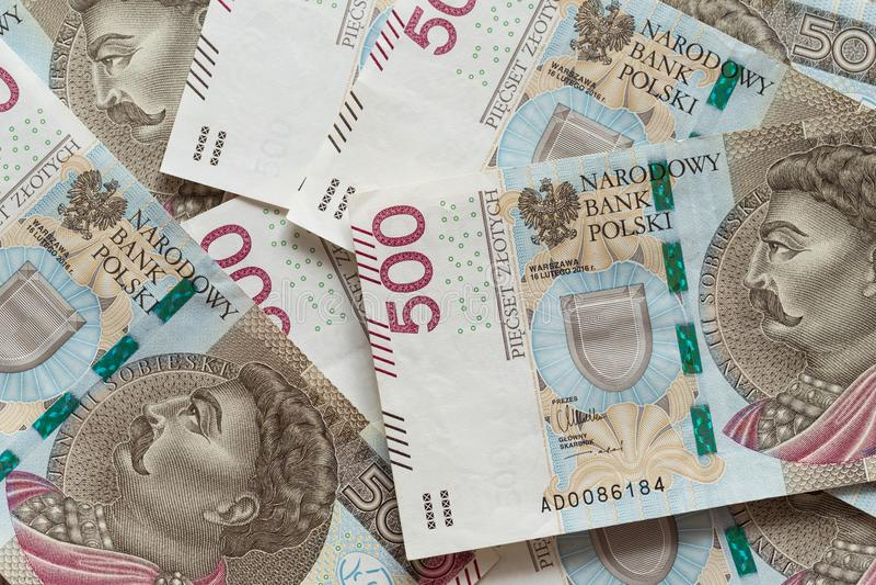Polnisches Zlotygeld/die höchsten Nominals stockfoto