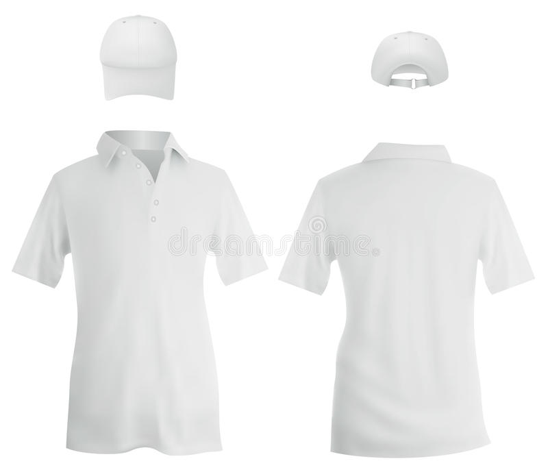 Polo blanc et un calibre de casquette de baseball illustration de vecteur
