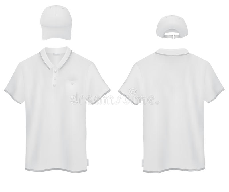 Polo blanc et un calibre de casquette de baseball illustration libre de droits