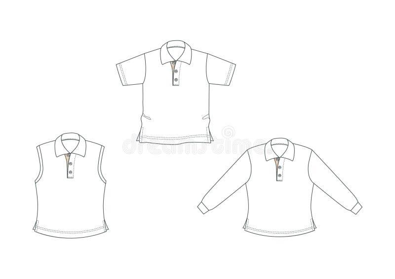 Polo-chemises blanches et tracées les grandes lignes illustration stock