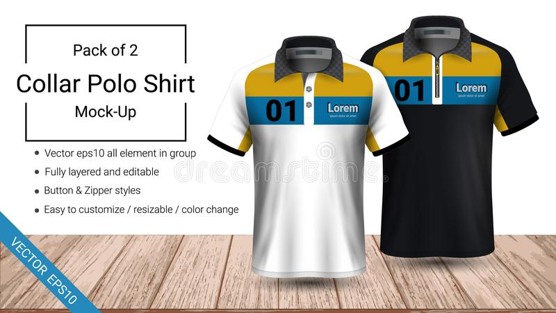 Polo collar t-shirt template, Vector eps10 file fully layered and editable prepared to showcase the custom design. By simply editinng the object and color royalty free illustration