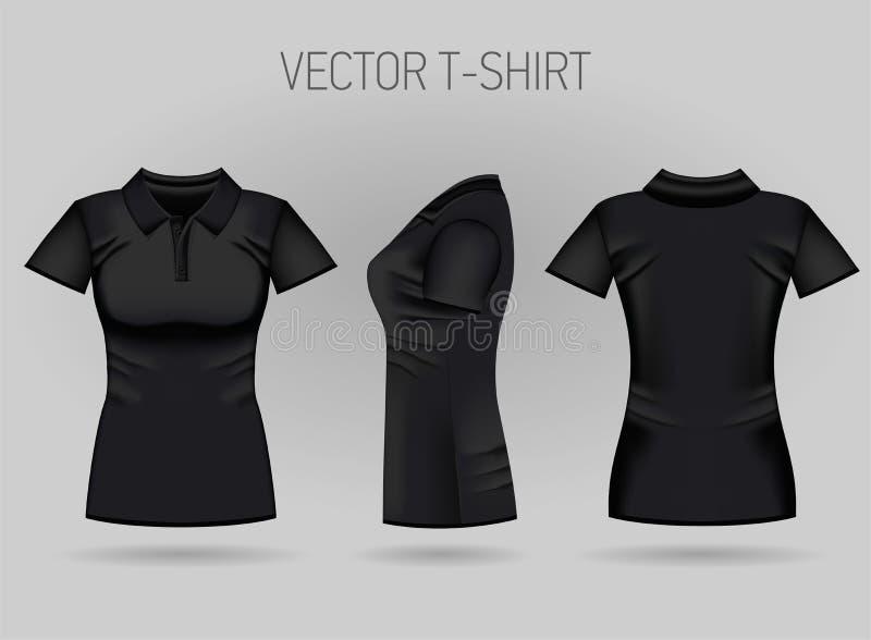Polo court noir de la douille des femmes de blanc dans l'avant, le dos et les vues de côté T-shirts femelles réalistes illustration stock