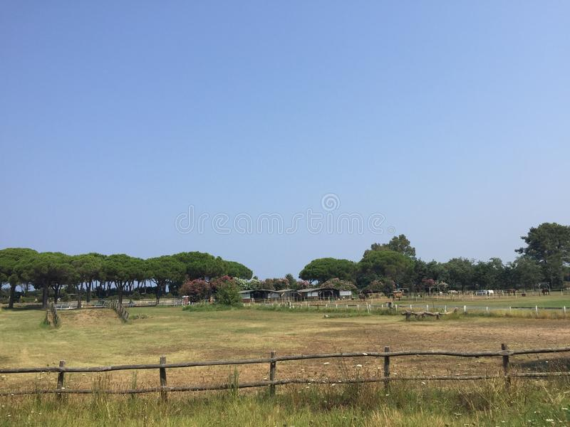 Polo court in Tuscany, Italy stock photography