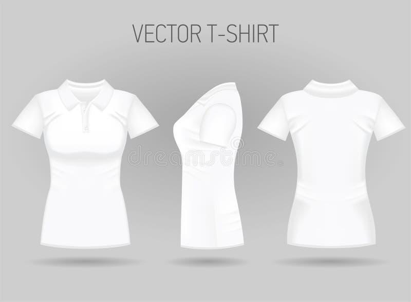 Polo curto branco da luva das mulheres da placa na parte dianteira, na parte traseira e em vistas laterais T-shirt fêmeas realíst ilustração stock