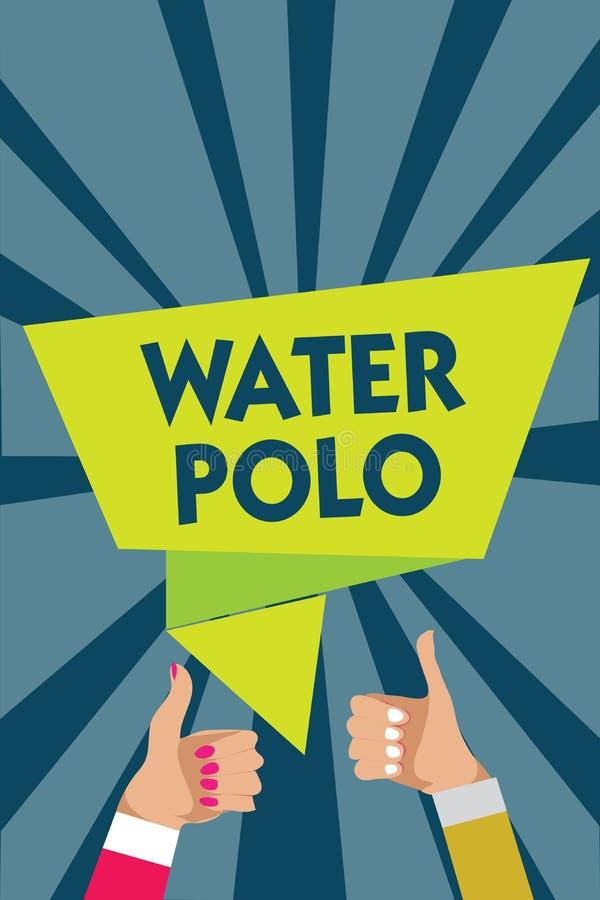 Polo d'eau d'écriture des textes d'écriture Le concept signifiant le sport collectif concurrentiel a joué dans l'eau entre deux m illustration stock