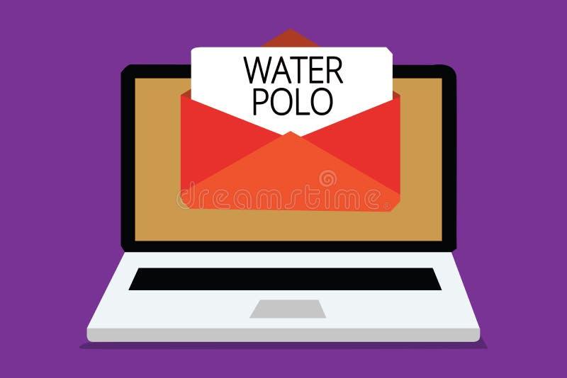 Polo d'eau d'écriture des textes d'écriture Le concept signifiant le sport collectif concurrentiel a joué dans l'eau entre le rec illustration stock