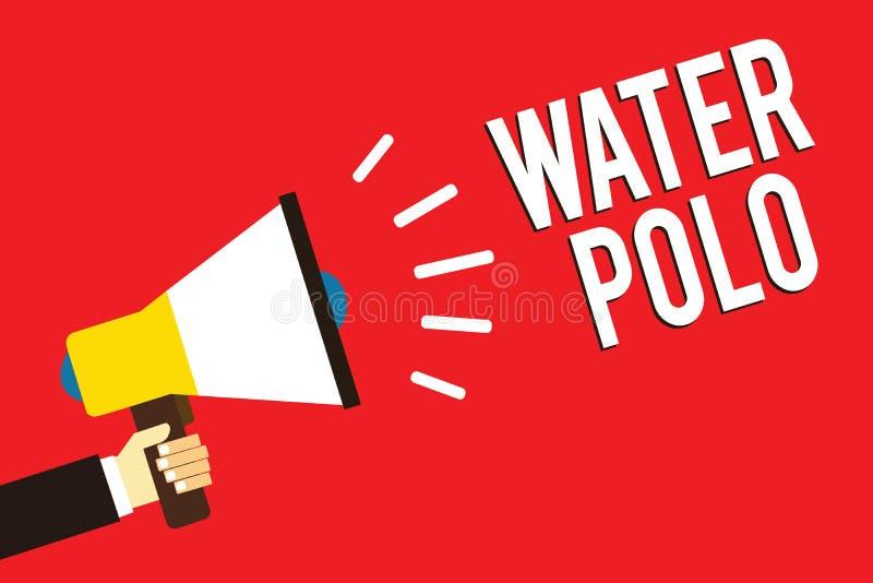 Polo d'eau des textes d'écriture de Word Le concept d'affaires pour le sport collectif concurrentiel a joué dans l'eau entre l'ho illustration stock