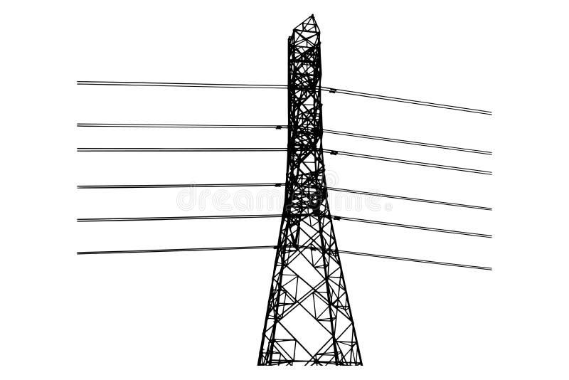 Polo de alto voltaje, líneas eléctricas de las líneas eléctricas, libre illustration