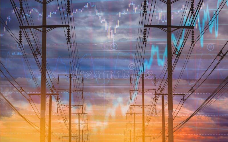 Polo eléctrico, y carta colorida de la acción del cielo como fondo Con el concepto de volatilidad de la acción y de negocios de l stock de ilustración