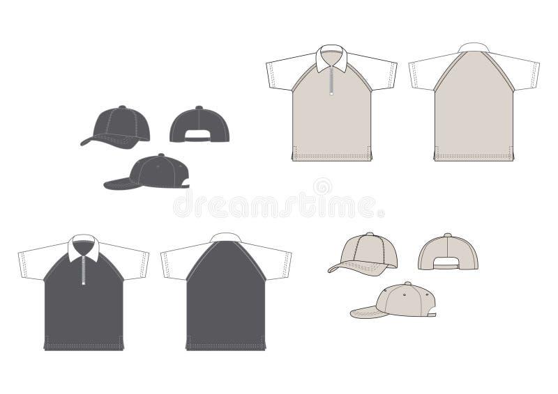 Polo-Hemden und Baseballschutzkappen lizenzfreie abbildung