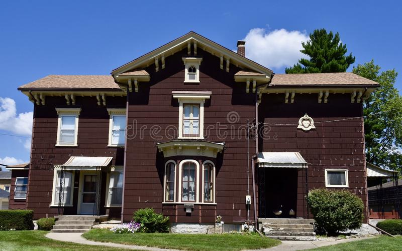 Polo Italianate. This is a Summer picture of a large Italianate home located in Polo, Illinois in Ogle County. This two story framed example of Italianate stock images
