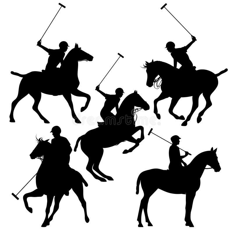 Polo jeźdzów sylwetki set royalty ilustracja