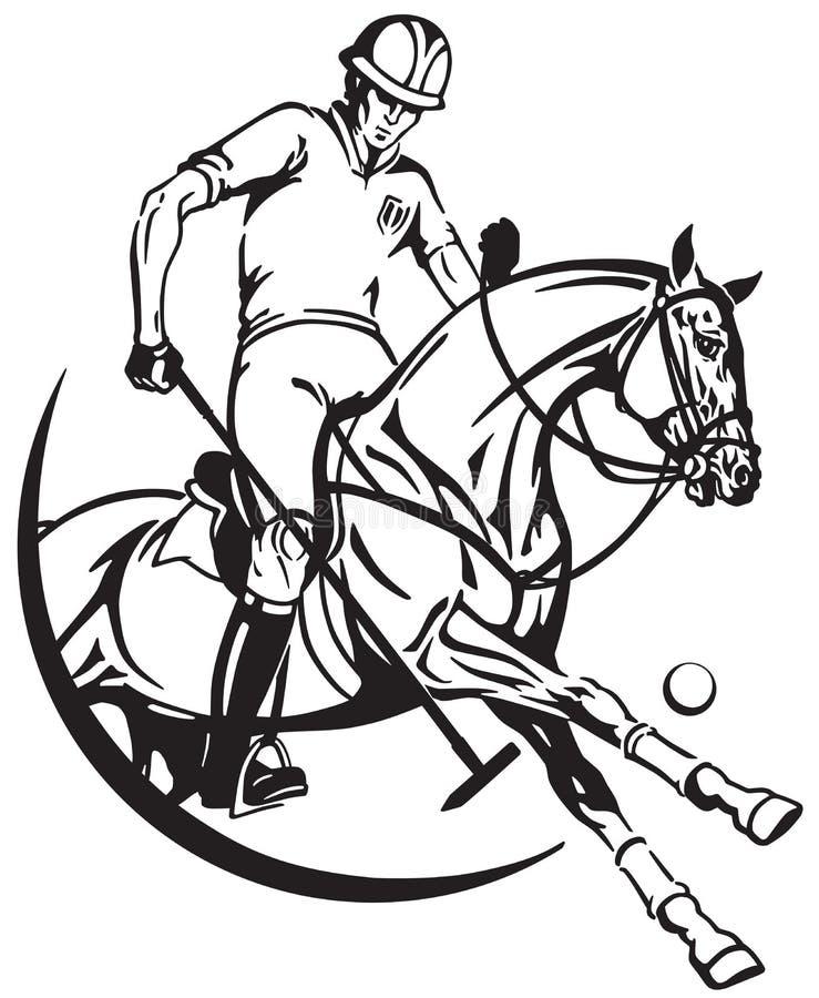 Polo konika gracz i koń Equine sporta klub ilustracji
