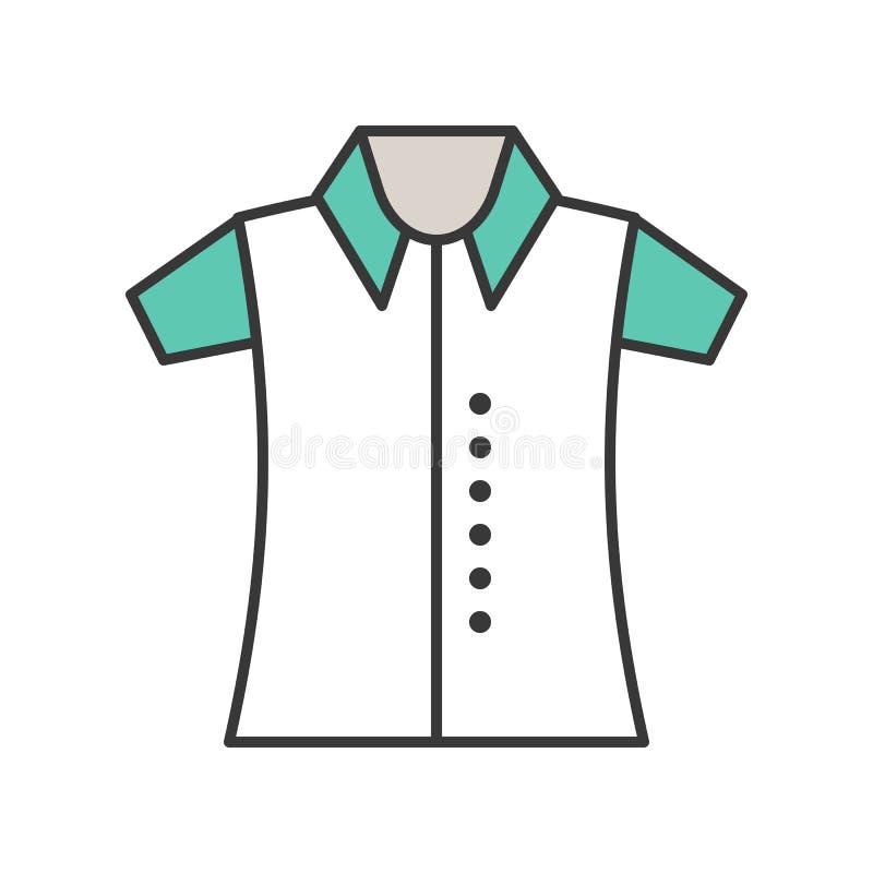 Polo koszula, wypełniający koloru konturu editable uderzenie ilustracja wektor