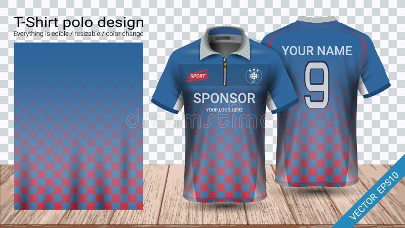 Polo koszulka z mockup szablonem dla futbolowego zestawu lub activewear mundurem suwaczka, piłki nożnej bydła, royalty ilustracja