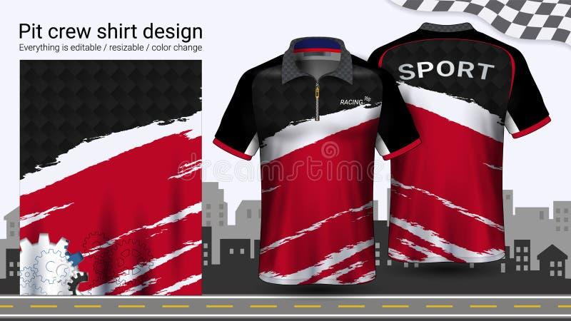 Polo koszulka z suwaczkiem, Ściga się munduru mockup szablon dla Aktywnej odzieży i sportów odziewać ilustracja wektor