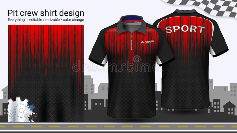 Polo koszulka z suwaczkiem, Ściga się munduru mockup szablon dla Aktywnej odzieży i sportów odziewać ilustracji