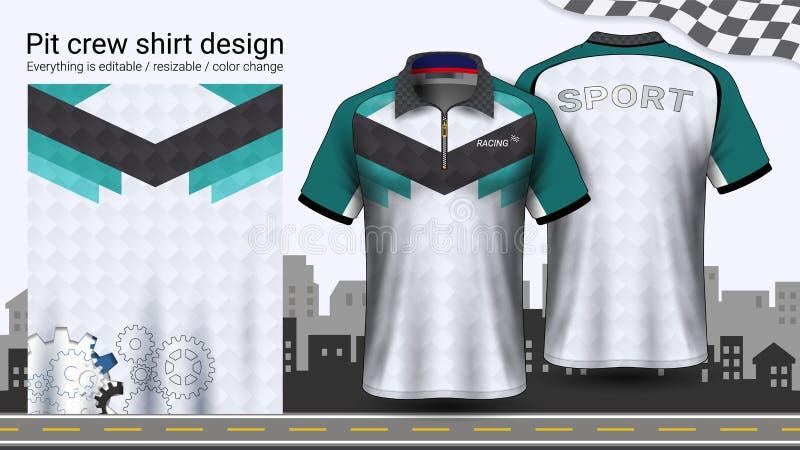Polo koszulka z suwaczkiem, Ściga się munduru mockup szablon dla Aktywnej odzieży i sportów odziewać royalty ilustracja