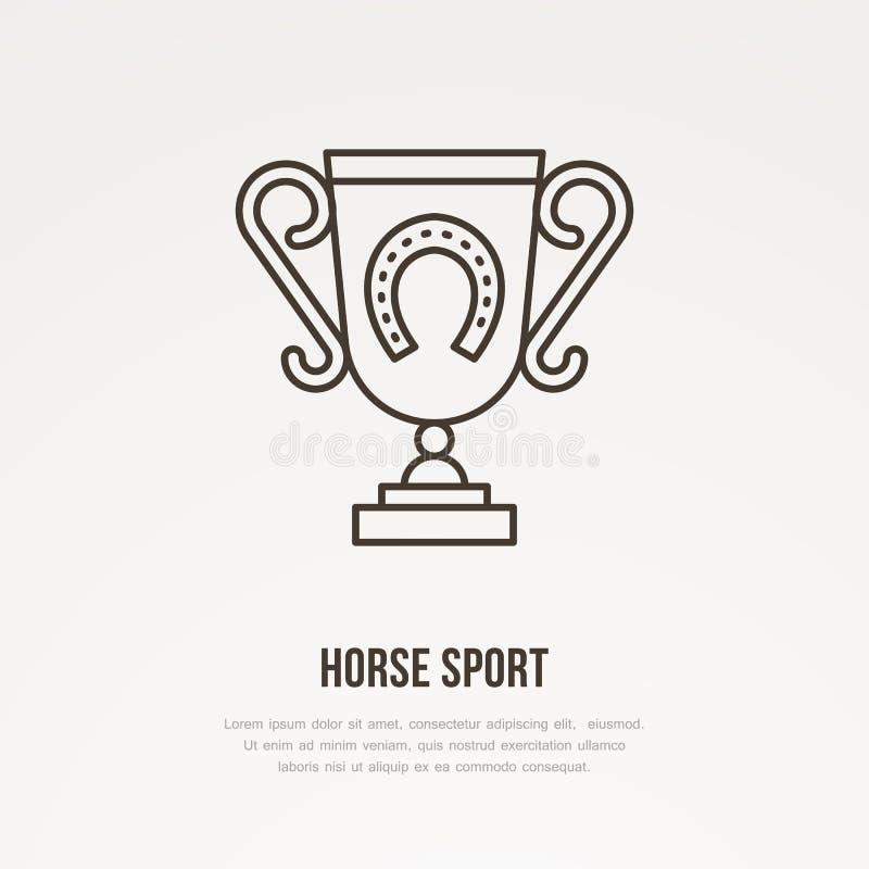 Polo mistrza trofeum liniowa ikona Złota filiżanka z podkowa logem, końskich ras mistrzostwa znak Zwycięzca nagroda ilustracji