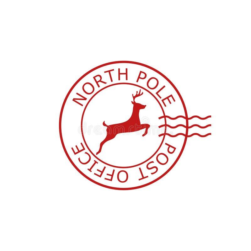 Polo Norte, sinal da estação de correios ou selo ilustração stock