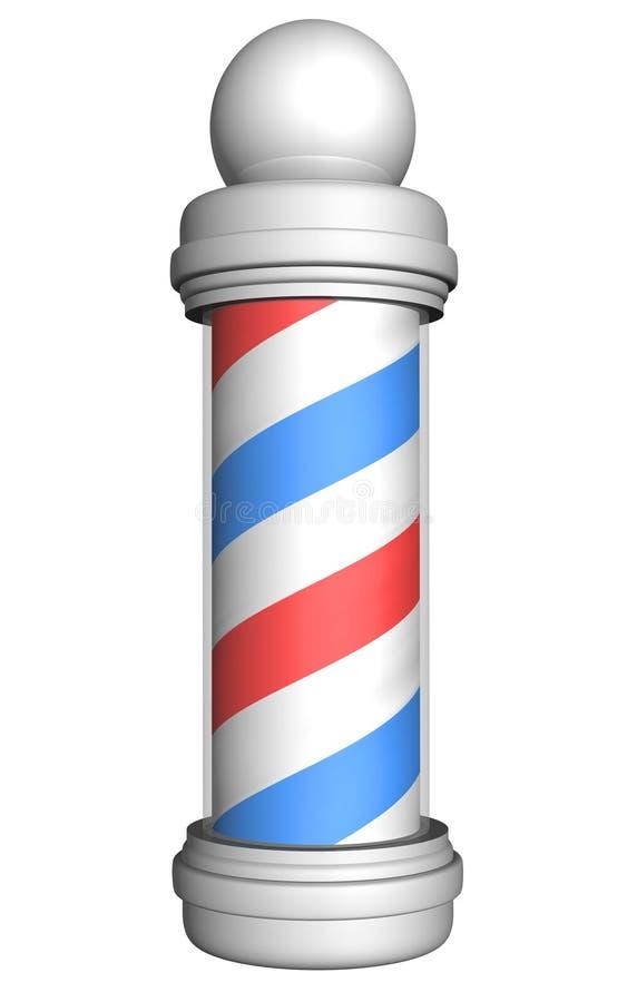 Polo pasado de moda del peluquero con las rayas rojas, blancas, y azules rendidas en 3D ilustración del vector