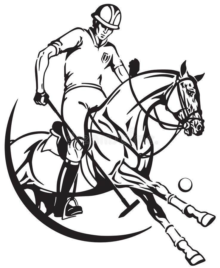 Polo pony horse and player . Equine sport club stock illustration