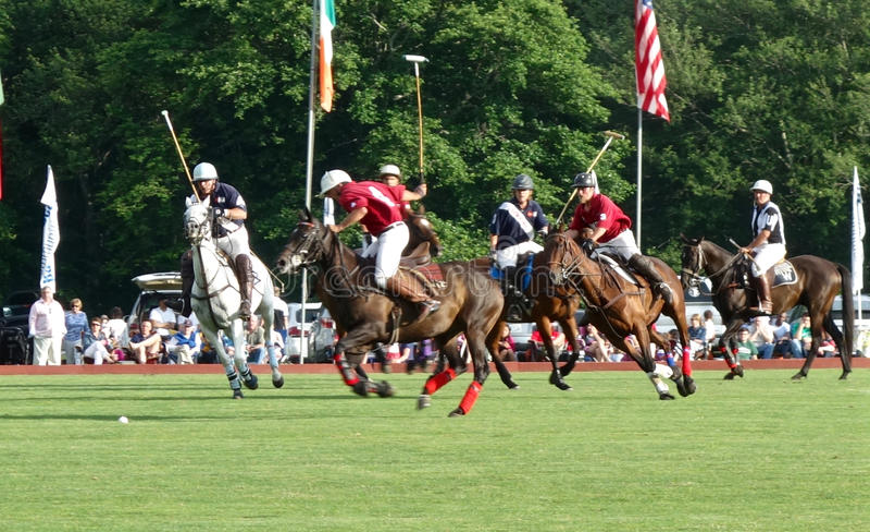 Polo Players em Portsmouth, RI EUA fotos de stock