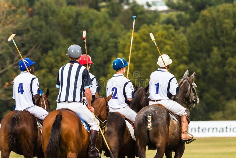 Polo Players Ponies Parade photographie stock libre de droits