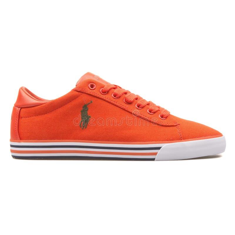 Polo Ralph Lauren Harvey orange sneaker. VIENNA, AUSTRIA - AUGUST 10, 2017: Polo Ralph Lauren Harvey orange sneaker on white background stock photography
