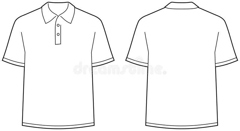 Polo shirt - front and back view isolated stock illustration