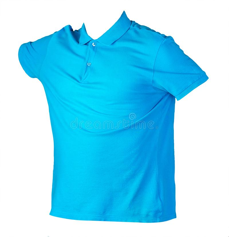 Polo shirt isolated on white background .Polo shirt front view. Blue short sleeve polo t-shirt isolated on white background .Polo cotton shirt front side view stock images