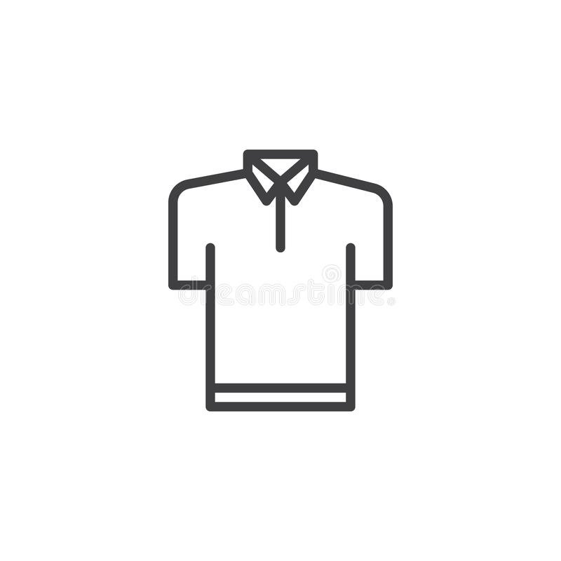 Polo shirt outline icon. Linear style sign for mobile concept and web design. T-shirt simple line vector icon. Symbol, logo illustration. Pixel perfect vector royalty free illustration