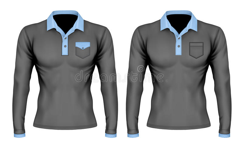 Polo shirt with pocket. Three-button placket polo collar shirt with pocket. Long-sleeve variant of polo-shirt. Different variants. Vector illustration. Fully vector illustration