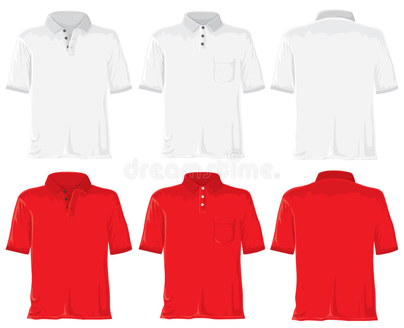 Polo shirt set. White & red vector illustration