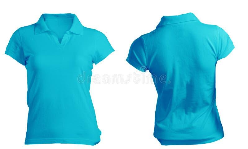 Polo Shirt Template bleu vide des femmes images stock