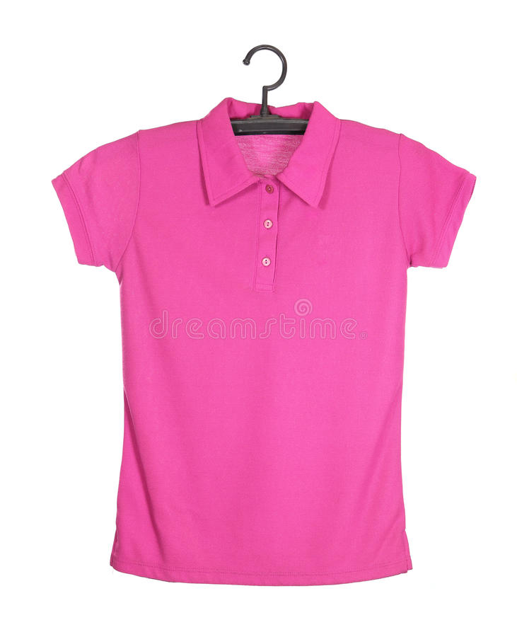 Polo shirt template on hange isolated on white background. Pink polo shirt template on hange (front side) isolated on white background royalty free stock photography