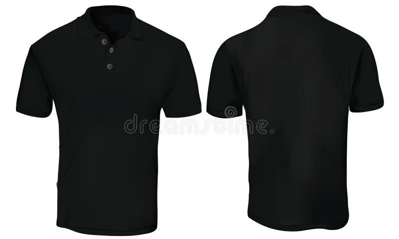 Polo Shirt Template negro ilustración del vector